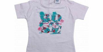 Adams Toddler Girls White T Shirt with Blue Rose