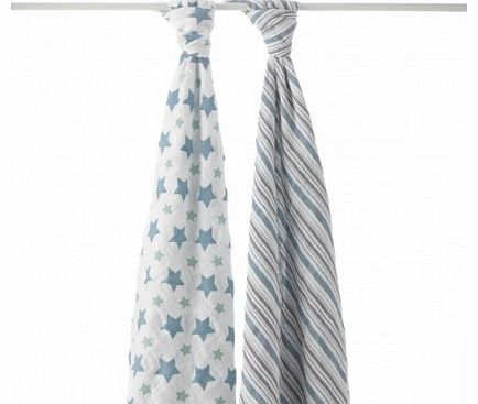 Maxi Swaddle - Grey Stars - Pack of 2 `One size