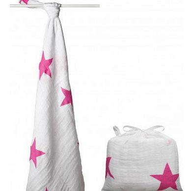 Maxi Swaddle - Pink Stars `One size