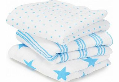 Swaddle - Blue stripes and stars - set of 2 `One