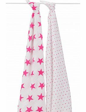 Swaddle - Pink stars - set of 2 `One size