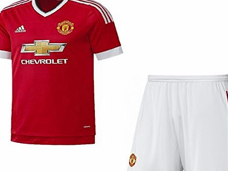 adidas  Manchester Utd Boys Home Kit Kids Soccer Kit Man Utd Home Jersey Short Set 7-16 Years New (13/14 Years)