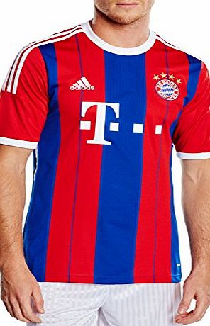 adidas Men FC Bayern München Home Replica Player Jersey - FCB True Red/Collegiate Royal/White, Large