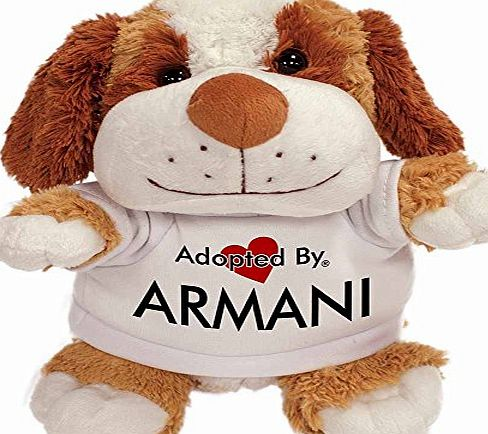 AdoptedBy Adopted By ARMANI Cuddly Dog Teddy Wearing a Printed Named T-Shirt
