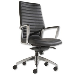 Adroit Zip Leather Black Executive Chair