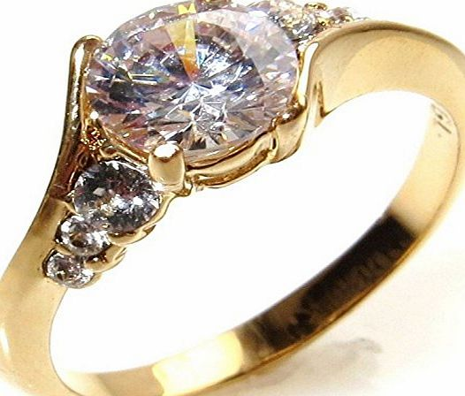 Ah! Jewellery Elegant Gold Filled Promise Simulated Diamond Engagement Ring. 6.5mm Centre Stone With 3 Perfectly Round Lab Diamonds Running Along Each Side. 2.5gr Total Weight And 7mm Total Width. Exc