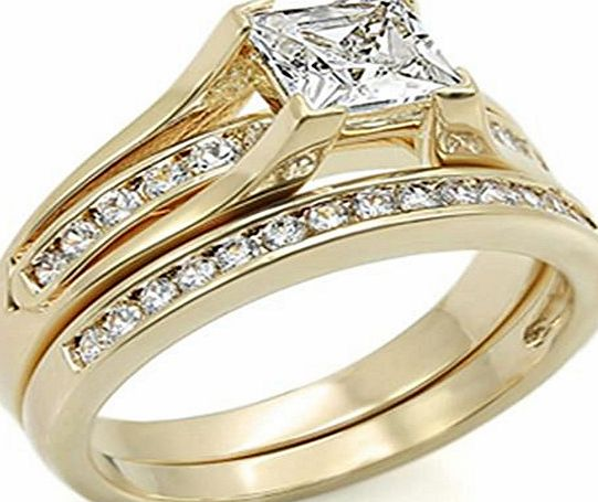 Ah! Jewellery rings sets New Improved! Princess Cut 6mm Flawless Lab Diamonds Ring and Half Eternity Channel Set Band. Never Tarnish. Stamped 316. Outstanding Quality Engagement Wedding Set. 24K Gold Electroplated.