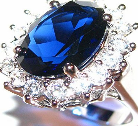 Ah! Jewellery Stunning World Class Finest SO SPARKLY Lab Diamonds Kate Middleton Engagement Ring. Surrounding An Elegant Sapphire Royal Blue 14.1mm Centre Stone. 20mm Total of 5.9gr In Weight. Rhodium