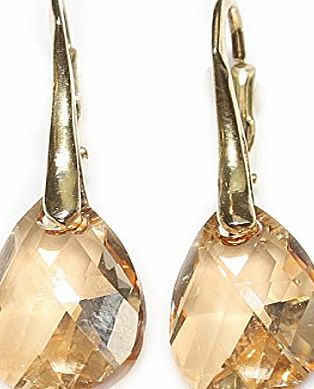 Ah! Jewellery Womens 16mm Golden Shadow Crystals From Swarovski® Pear Earrings. Genuine Vermeil: 24K Gold Over Sterling Silver. Stamped 925. 3GR Total Weight.