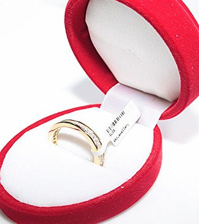 Ah! Jewellery Womens GIFTBOXED Genuine Gold Filled 18K Eternity Ring. UK Guarantee: 3µ / 10 years. Princess Cut Simulated Diamonds. 2.8GR Total Weight. Never Tarnish. Outstanding Quality Band.