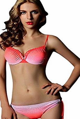 aha Womens Fashion Design Gradient Color Sexy Bikini Set Low waist Padded Two Piece Summer Swimwear and Swimsuit Beachwear Orange