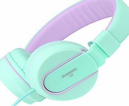 Ailihen  I35 Lightweight Foldable Headphones with Microphone Stereo Headsets Adjustable Headband for 3.5mm Android Cellphones Smartphones iPhone Laptop Computer Mp3 (Green Purple)