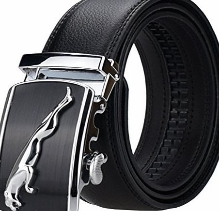 AINISI Belt Mens Black Ratchet Belts Fashion Business Casual Leather Belts(10,125)