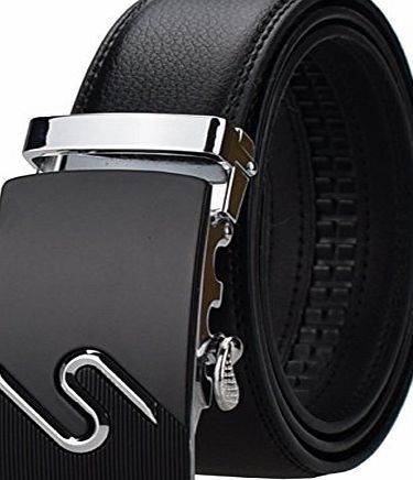 AINISI Belt Mens Black Ratchet Belts Fashion Business Casual Leather Belts(13,125)