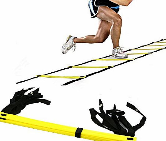 aiqi  5-rung Speed amp; Agility Training Ladder for Improving Speed, Agility, Fitness, Leg Strength and More with Black Carrying Bag 10ft