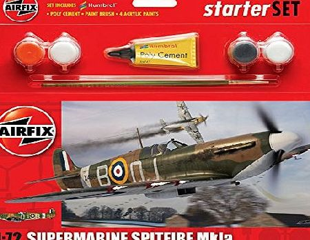 Airfix 1:72 Supermarine Spitfire Mkia Military Aircraft Category 1 Gift Set