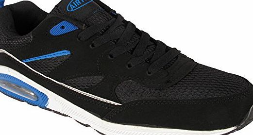 Airtech Kids Boys Childrens Youth Air Bubble Max 90 Air tech Running Sport Fitness Trainers Shoes Sizes UK (UK 5, Black/Silver/Blue)