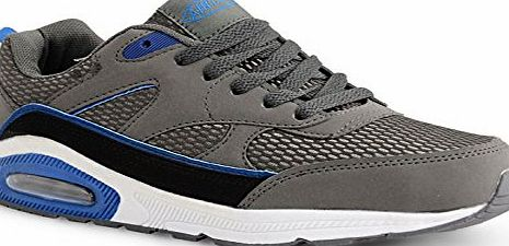 Airtech Kids Boys Girls Airtech Lace Up Shock Absorbing Mesh Stylish Fashion Trainers, Dark Grey Blue , Size UK 1