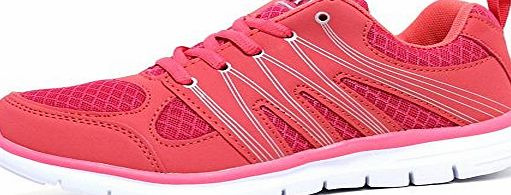 Airtech Ladies Running Trainers Air Tech Shock Absorbing Fitness Gym Sports Shoes (LADIES UK 5, Coral / White)