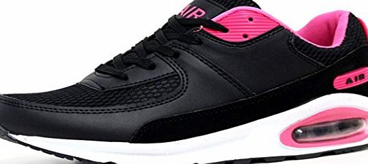 Airtech Ladies Running Trainers Air Tech Shock Absorbing Fitness Gym Sports Shoes Size 4 - 8 (LADIES UK SIZE 6, Black / White Fuchsia)