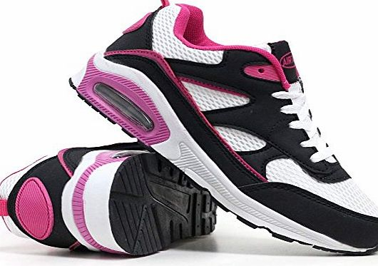 Airtech Ladies Running Trainers Air Tech Womens Shock Absorbing Fitness Gym Sports Shoes Size 3 4 5 6 7 8 (5 UK, Black / Plum)