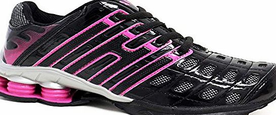 Airtech Ladies Running Trainers New Womens Shock Absorbing Fitness Gym Sports Shoes UK Size 3 - 8 (7 UK, Black Pink)