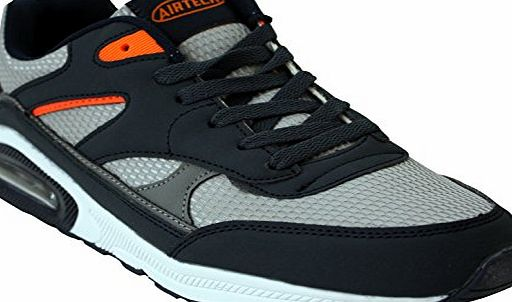 Airtech Mens Legacy Air Bubble Max 90 Running Trainers Airtech Fitness Shock Absorbing Sports Gym Shoes Size 7 8 9 10 11 12 (10 UK, Navy / Silver / Orange)