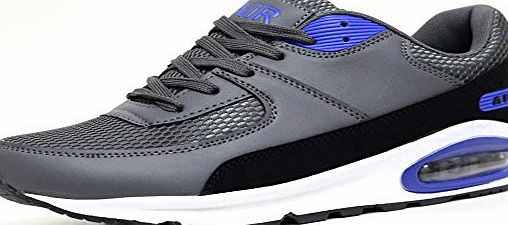 Airtech Mens Legacy Air Bubble Max 90 Running Trainers Airtech Fitness Sports Gym Shoes Size 7 8 9 10 11 12 (10 UK, Grey / Blue)