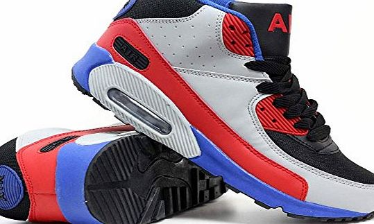 Airtech Mens Running Air Bubble Max 90 Trainers Airtech Fitness Sports Gym Walking Shoes Size 7 8 9 10 11 12 (11 UK, S1 Grey / Red /Blue)
