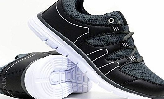 Airtech Mens Shock Absorbing Light Weight Running Trainers Jogging Gym Walking Fitness Sports Trainer New ShoesSize 7 - 12 (10 UK, Black-Grey)