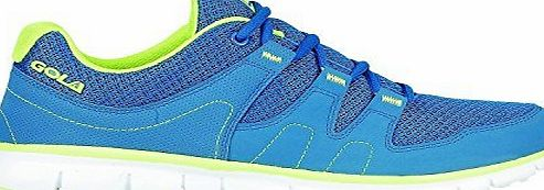 Airtech Mens Shock Absorbing Running Shoe Trainers Jogging Gym Fitness Trainer New Shoes (7 UK, Blue/Volt)