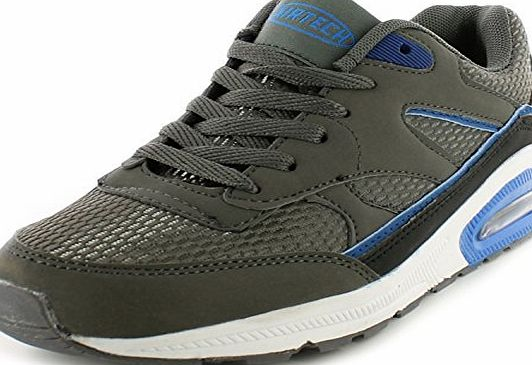 Airtech New Boys/Kids Grey Airtech Legacy Lace Ups Running Trainers. - Dark Grey/Blue - UK SIZE 5