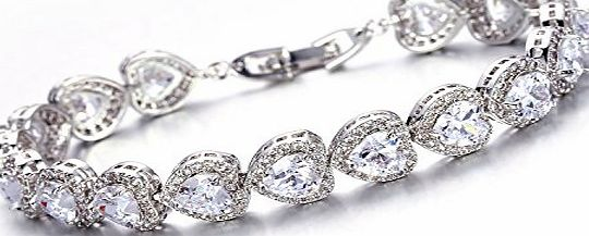 Aischalove Engagement Wedding Ideal Cut Heart Shape Simulated Diamond Eternity Bracelet for Brides