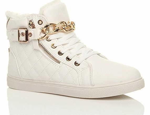 WOMENS LADIES GOLD CHAIN STRAP LACE UP QUILTED HI TOP PUMPS TRAINERS SIZE 4 37