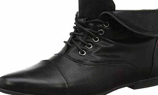 Ajvani Womens ladies low heel flat lace up fold over cuff victorian vintage pixie ankle boots 5UK