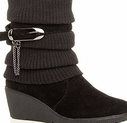 Ajvani WOMENS LADIES MID HEEL WEDGE KNITTED COLLAR SLOUCH BUCKLE ANKLE BOOTS SIZE 5 38 Black