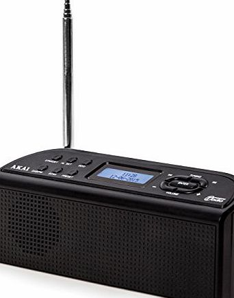 Akai A61016 DAB Digital Radio, Battery Operated - Black