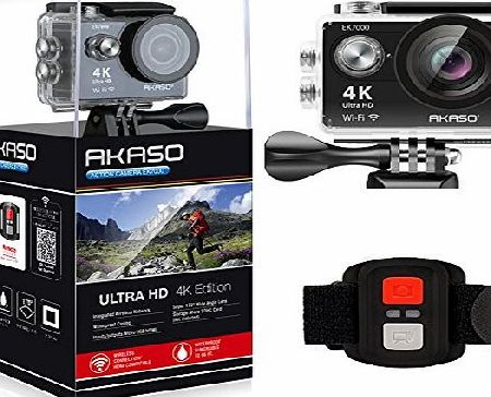 AKASO EK7000 Sports Camera 4K Action Camera Full HD 1080P WiFi Digital Video Camcorder 12MP Waterproof Underwater Camera 2 inch LCD Screen 170 Degree Wide Angle Lens Helmet Cam with Remote   Spare Rec