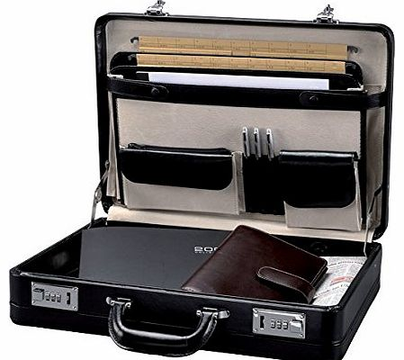 - 41033 TAORMINA - attache case briefcase, leather, black