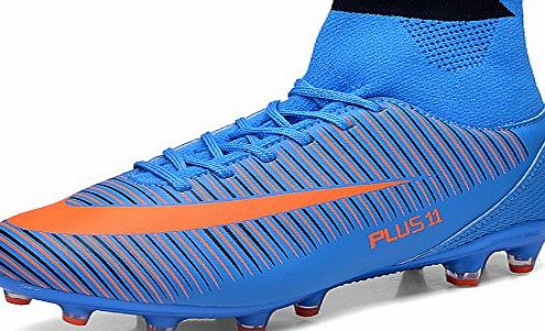 Aleader Mens Football Training Shoes Outdoor Soccer Boots Blue 9 UK