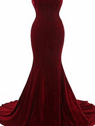 ALGL Womens Long Red Mermaid Bridesmaid Party Dresses Evening Gown Back Lace up UK12