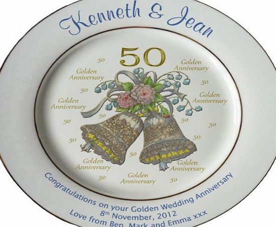 All About Names Personalised Golden Wedding Anniversary plate with 2 gold bands - Bells   50 design