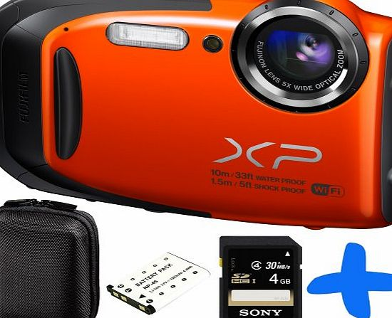 Allcam Fuji XP70 Orange Waterproof Digital Camera Bundle   4GB   Spare Battery  Allcam Hard Case (Fujifilm Finepix XP70 16.4MP, WiFi, 5x Optical Zoom, Waterproof to 33ft/10m, Shockproof to 5ft/1.5m, Full HD