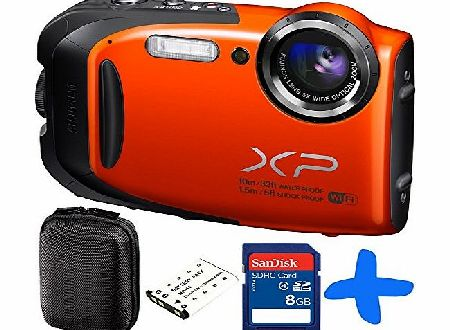 Allcam Fuji XP70 Orange Waterproof Digital Camera Bundle   8GB   Spare Battery  Allcam Hard Case (Fujifilm XP70 Action Camera, WiFi, 16.4MP, 5x Optical Zoom, Waterproof to 33ft/10m, Shockproof to 5ft/1.5m, F