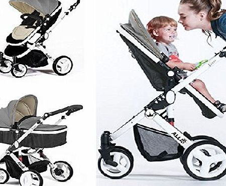 Allis Baby Pram Pushchair Buggy Stroller Carry Cot Travel 2in1 Grey
