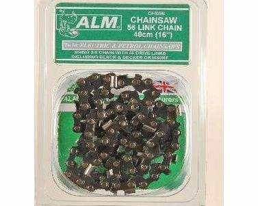 Chainsaw Chain: 40cm 56 Links Fits 40cm 16`` Electric and petrol chainsaws Black amp; Decker, McCulloch Bar Length 40cm 16`` 3/8`` Pitch Guage 1.3mm 56 Drive Links