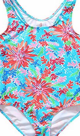 Alove Girls One Piece Swimsuit Flower Print Swimwear Racerback Swimming Costume