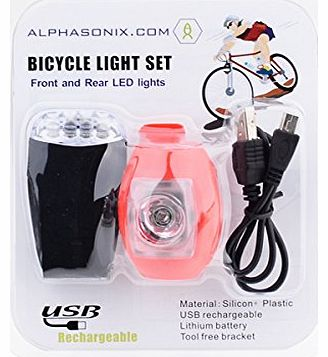 Ultra Bright USB Bike Light Set - Complete set of Front and Rear USB Cycle Lights (both USB Chargeable / Rechargeable) with quick release integrated brackets and can also be used as a recha