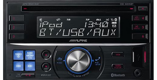 Alpine CDE-W235BT In-Dash Double DIN CD/MP3/USB Car Stereo Receiver w/ Blueto.