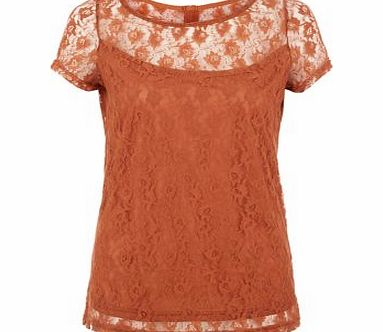 Amalie and Amber Rust Lace T-Shirt 3460630